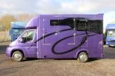 purple horsebox side shot
